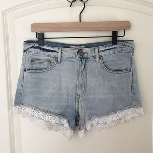 Free People Distressed High Waisted Lace Shorts